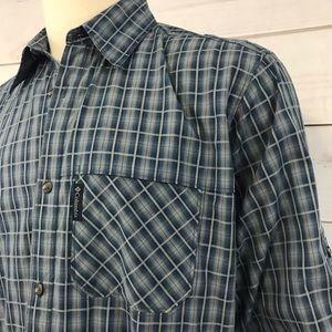 Columbia Omni-Shade Shirt Blue Plaid Size XL-TALL